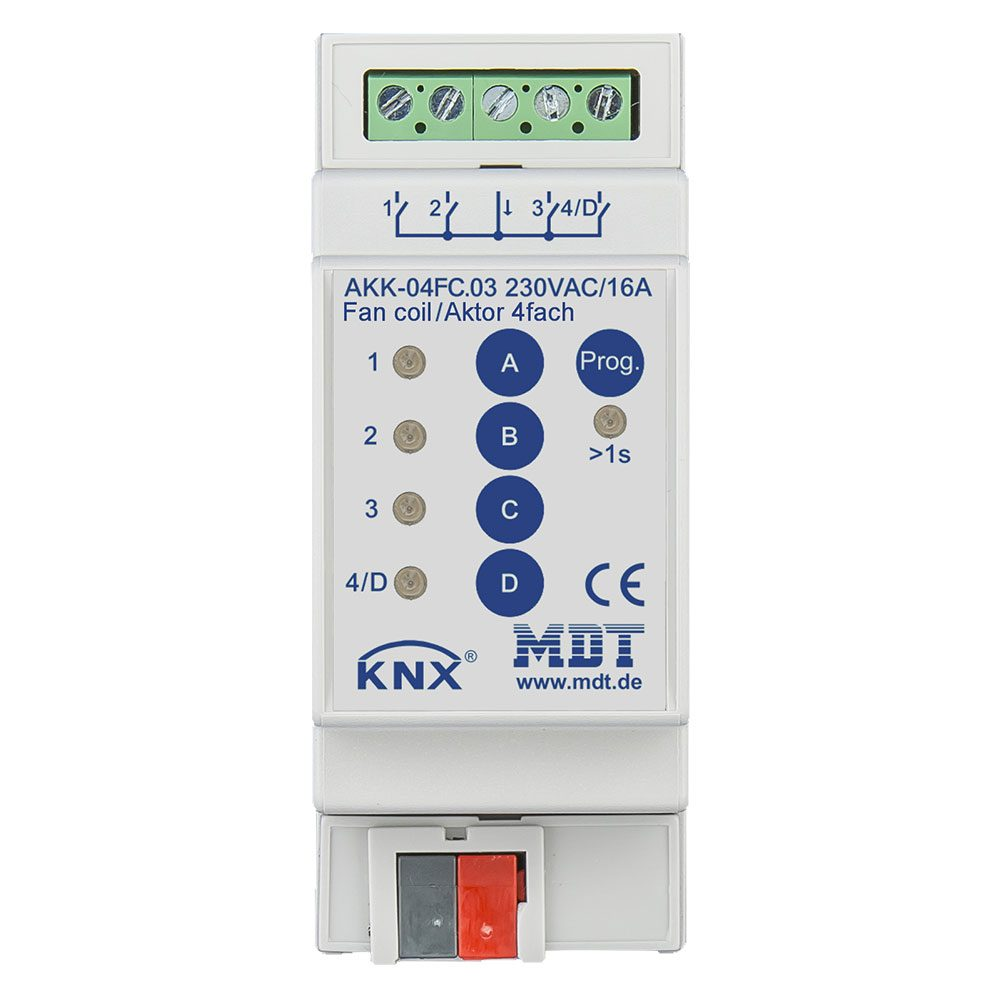 AKK-04FC03 - Switch Actuator 4 fold, 2SU MDRC, 16A, 70µ, 10ECG, 230VAC, Fan coil