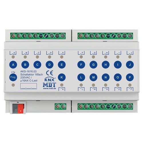 AKS-161603 - Switch Actuator 16 fold, 8SU MDRC, 16A, 230VAC, C-load, standard, 140µF