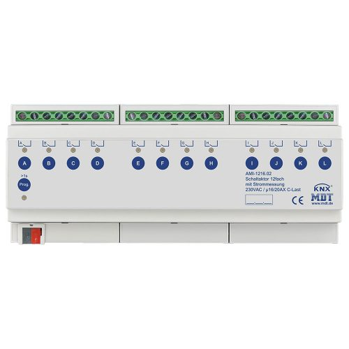 AMI-121602 - Switch Actuator 12 fold, 12SU MDRC, 1620A, 230VAC, C-load, industrie, 200μF, current measurement
