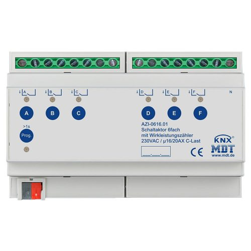 AZI-061601 - Switch Actuator 6 fold, 12SU, MDRC, 1620A, 230VAC, C-load,-200µF, power measurement
