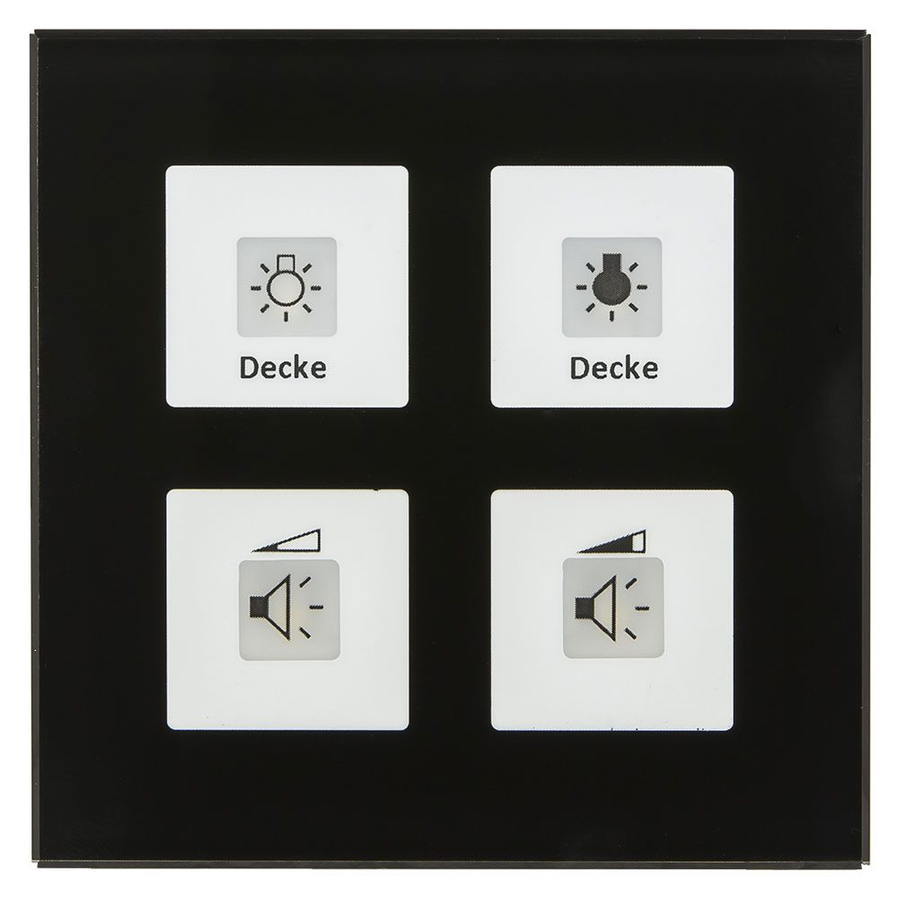 BE-GT04S01 - Glass Push Button 4 fold Plus, Black