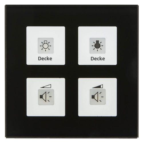 BE-GT04S01 - Glass Push Button 4 fold Plus, Black