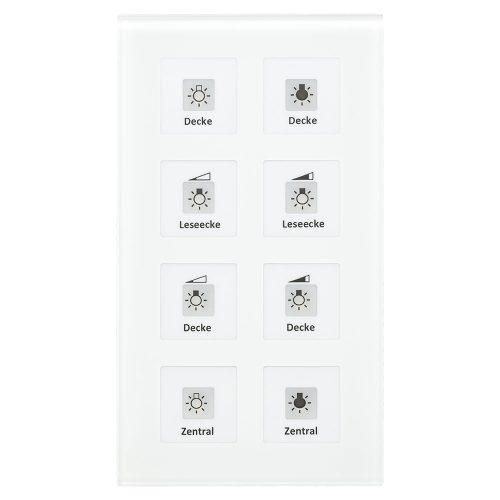 BE-GT08W01 - Glass Push Button 8 fold Plus, White