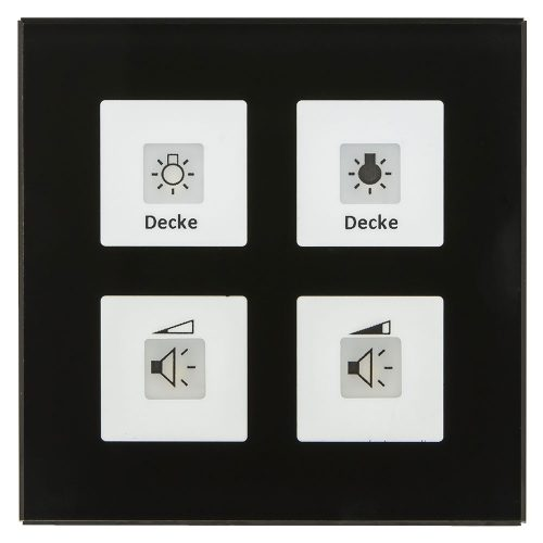 RF-GTA4S01-KNX-RF - Glass Push Button 4 fold Plus whith Actuator, Black, for ETS5